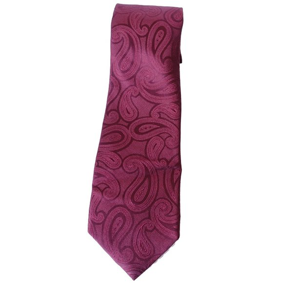 MICHAEL KORS Red Solid Unsolid Paisley Silk Tie